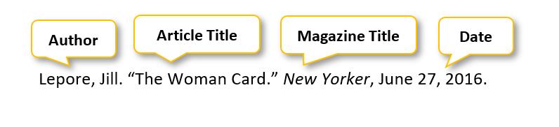 Lepore comma Jill period  quotation mark The Woman Card period  quotation mark  New Yorker comma June 27 comma 2016 period