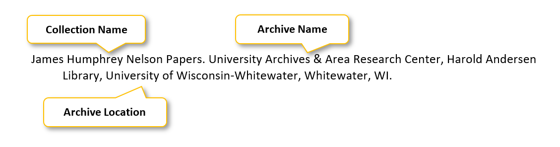 James Humphrey Nelson Papers period University Archives & Area Research Center comma Harold Andersen Library comma University of Wisconsin-Whitewater comma Whitewater comma WI period
