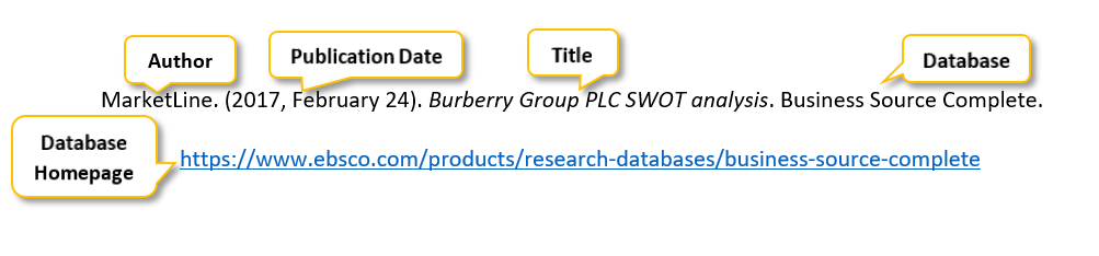 "MarketLine period parenthesis 2017 comma February 24 parenthesis period Burberry Group PLC SWOT analysis period Business Source Complete period <a href= ""https://www.ebsco.com/products/research-databases/business-source-complete"" </a>"
