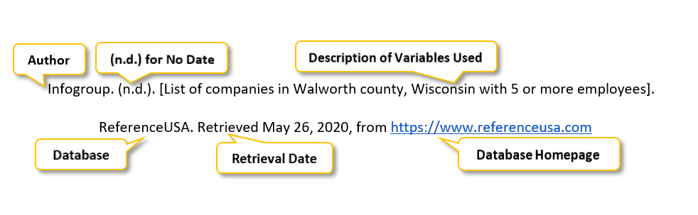 "Infogroup period parenthesis n period d period parenthesis  period square bracket List of companies in Walworth county comma Wisconsin with 5 or more employees square bracket period ReferenceUSA period Retrieved May 26 comma 2020 comma from <a href= ""https://www.referenceusa.com"" </a>"