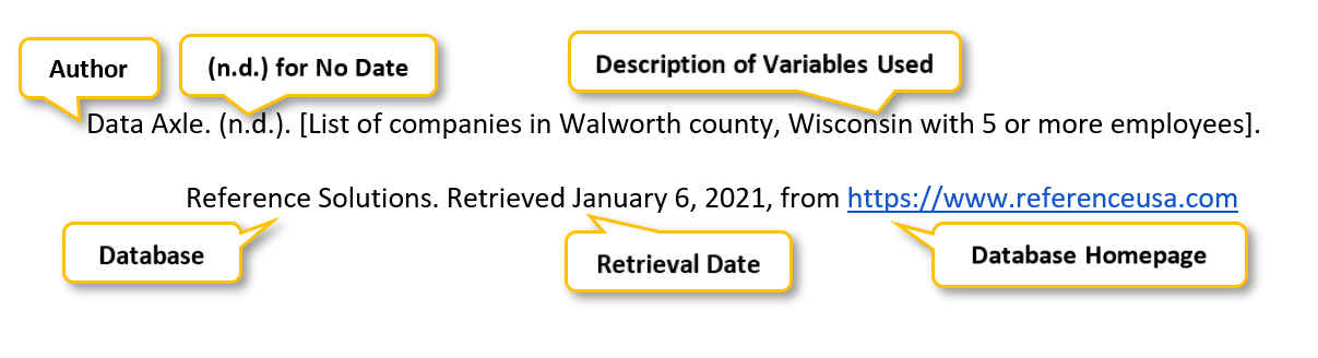 "Data Axle period parenthesis n period d period parenthesis  period square bracket List of companies in Walworth county comma Wisconsin with 5 or more employees square bracket period Reference Solutions period Retrieved January 6 comma 2021 comma from <a href= ""https://www.referenceusa.com"" </a>"