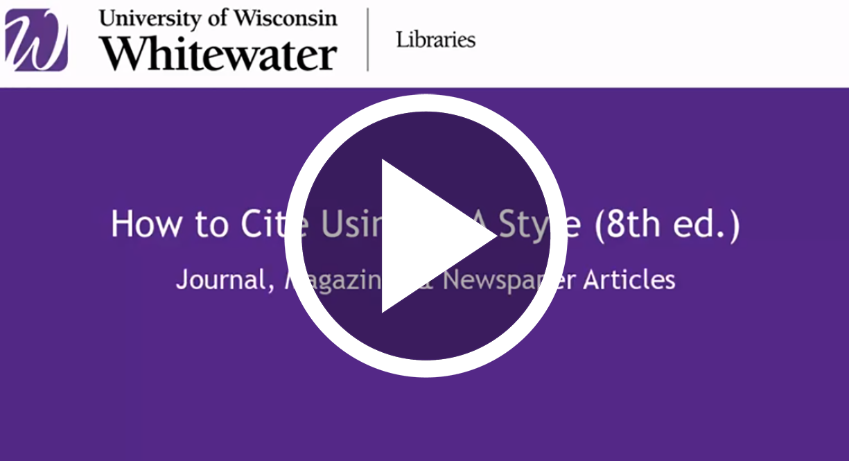 video link to How to cite articles using MLA style