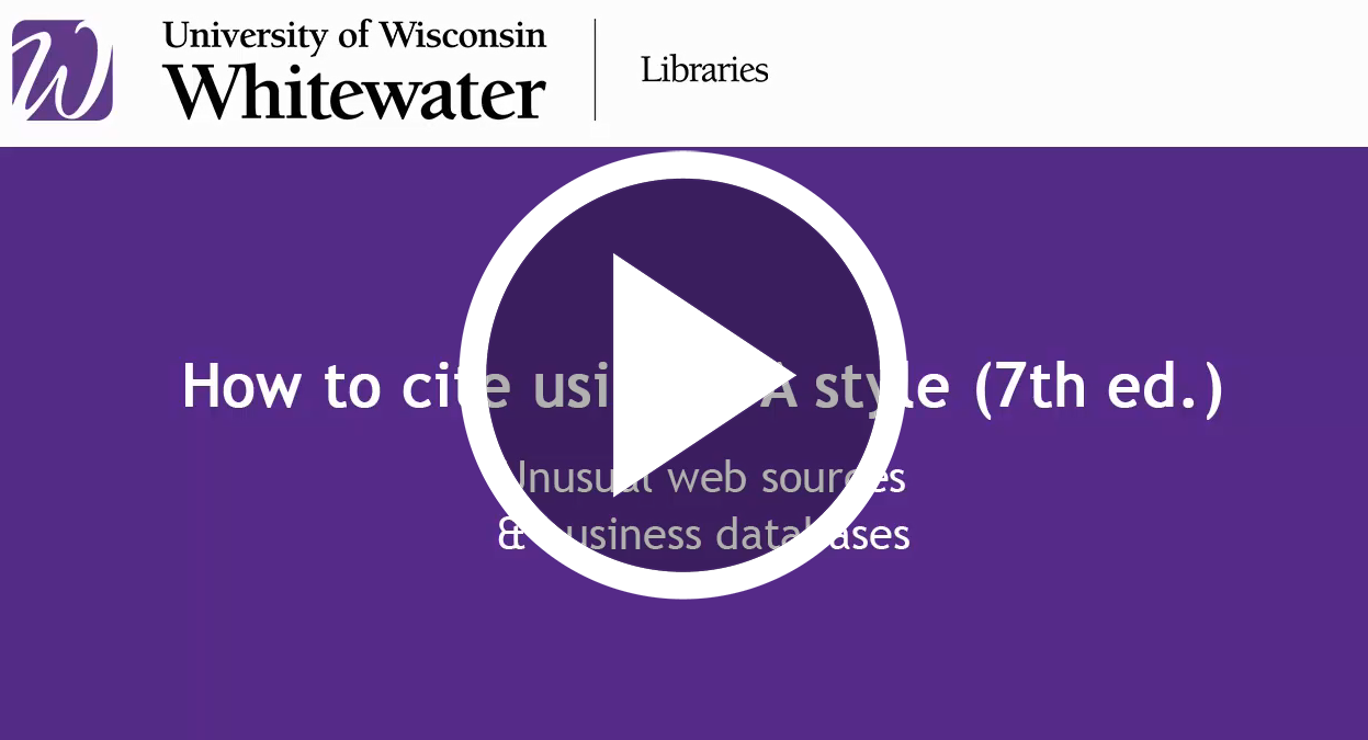 icon to play video for citing Business and advanced web pages in APA