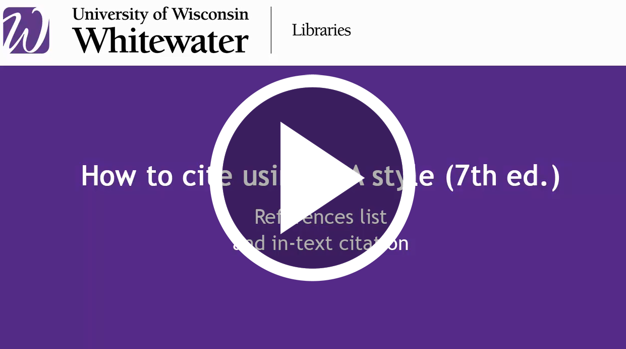 video link for How to create references list and in-text citations in APA style