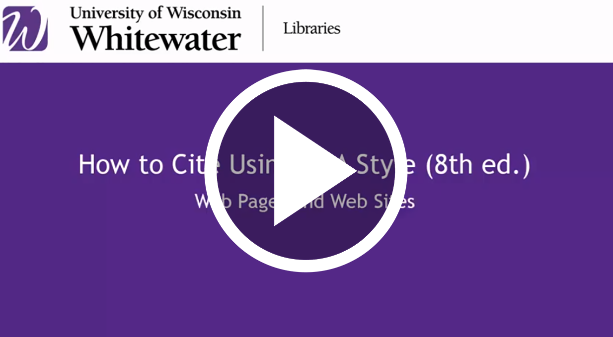 video link to How to cite web pages using MLA style