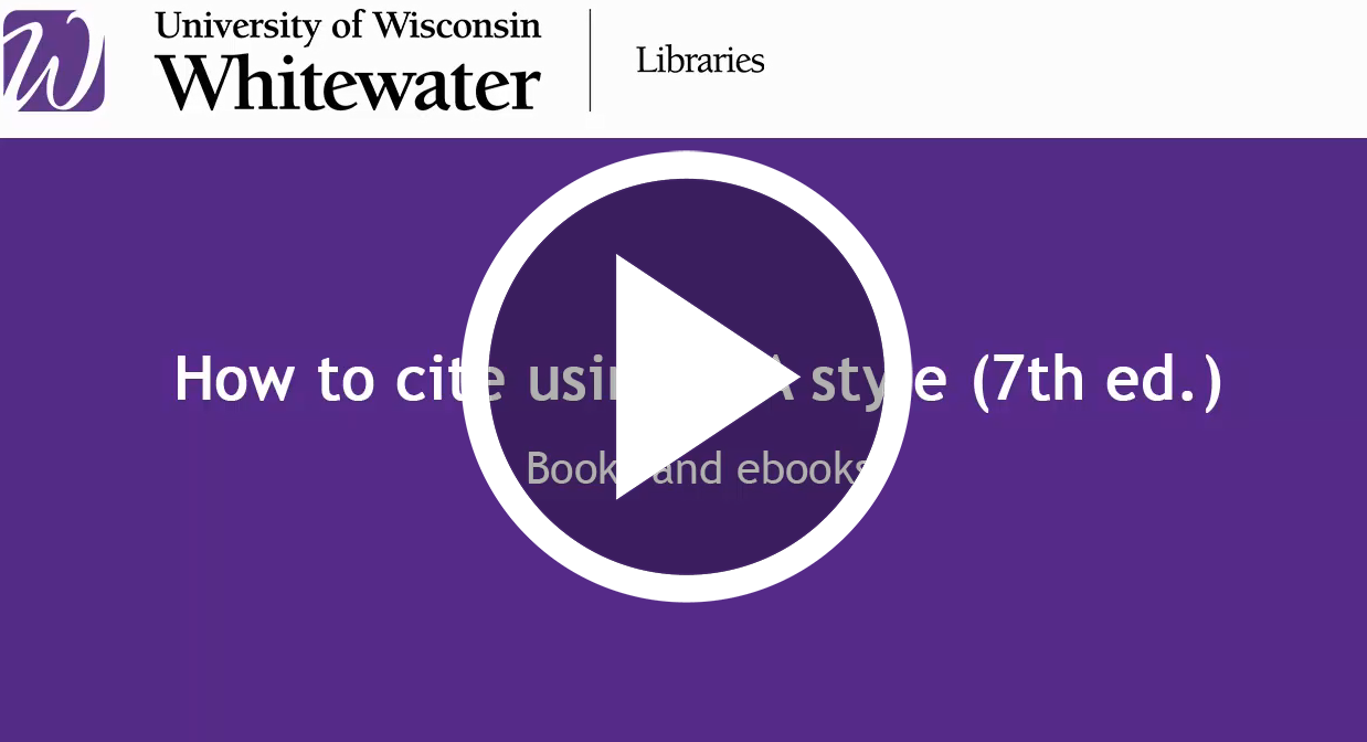 video link for How to cite Books using APA style