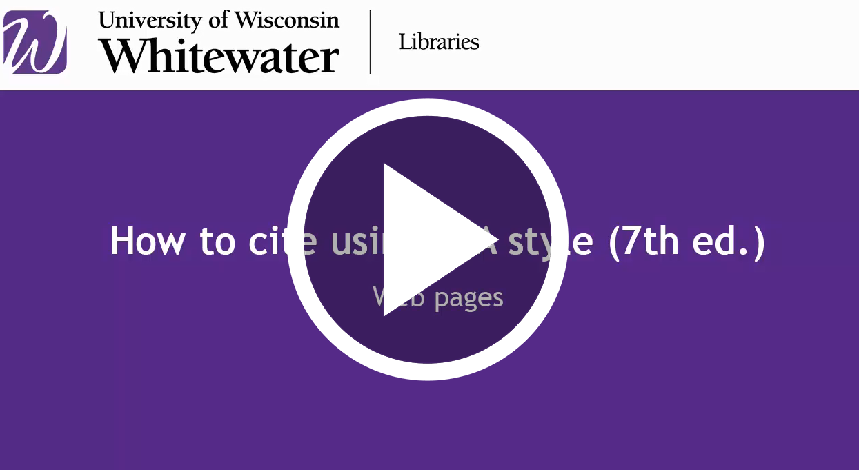 video link for How to cite web sources using apa style