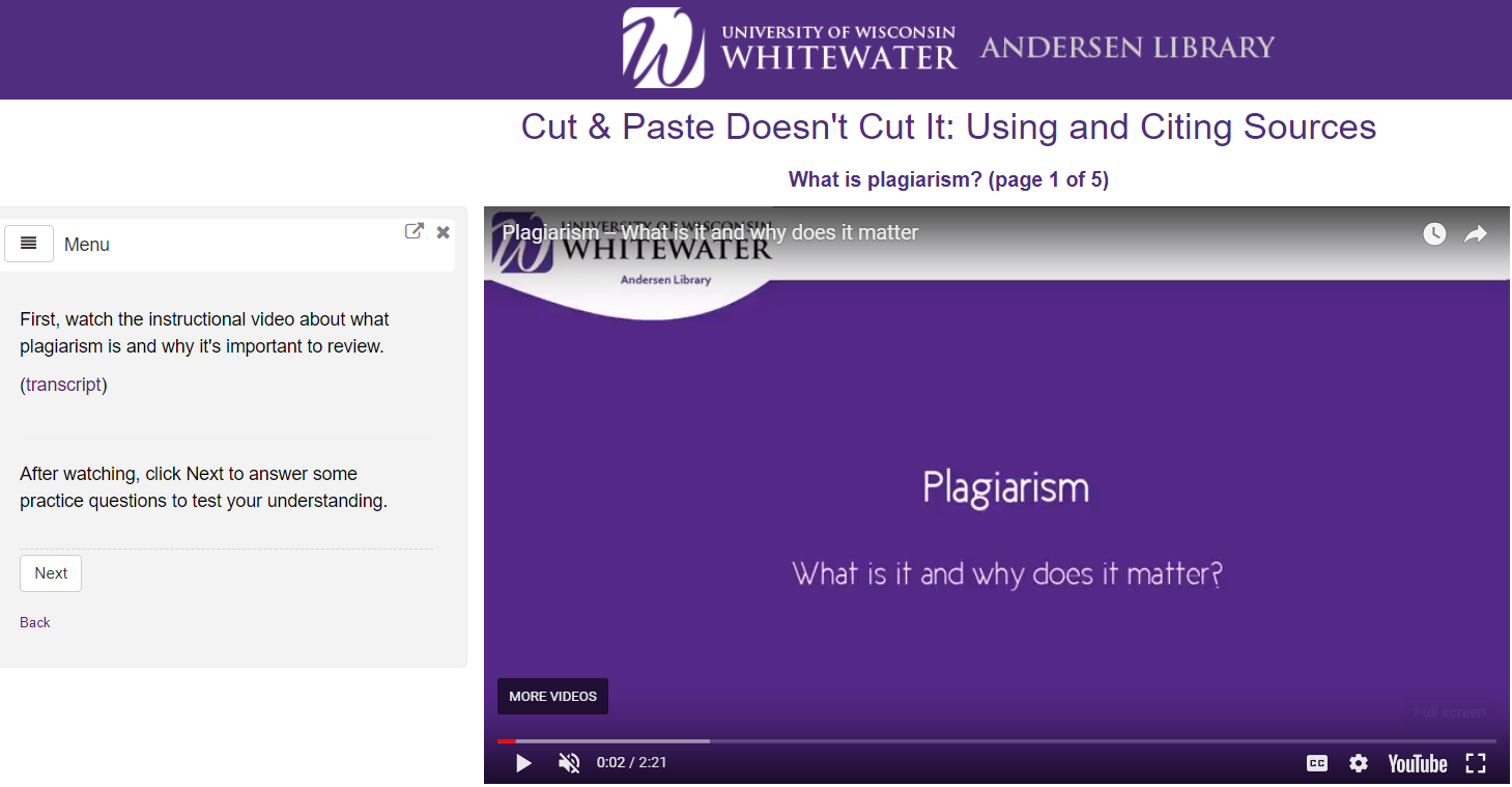 screenshot of the Plagiarism tutorial
