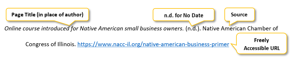 "Online course introduced for Native American small business owners period parenthesis n period d period parenthesis period Native American Chamber of Congress of Illinois period  <a href= ""https://www.nacc-il.org/native-american-business-primer"" </a>"