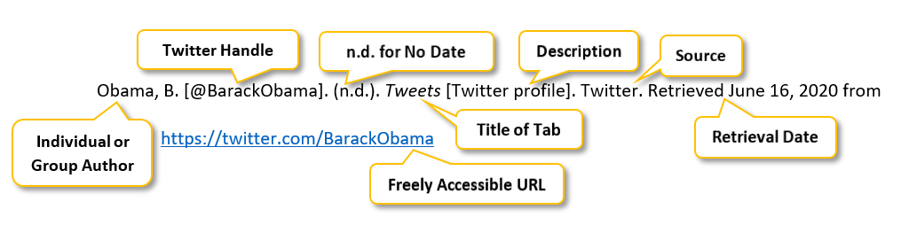 "Obama comma B period square bracket @BarackObama square bracket period parenthesis n.d. parenthesis period Tweets square bracket Twitter profile square bracket period Twitter period Retrieved June 16 comma 2020 from  <a href= ""https://twitter.com/BarackObama"" </a>"