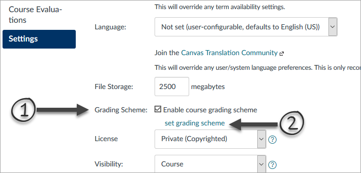 course details tab under course settings with arrows pointing to the option for enabling grading schema