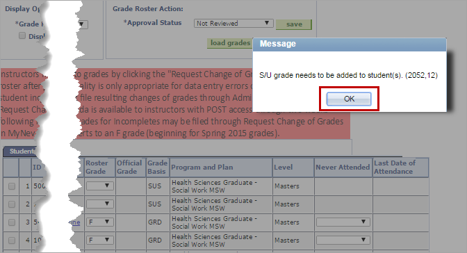 s/u grades adjustment message