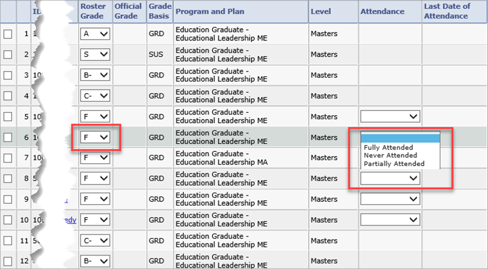 screenshot of student grades in grade roster