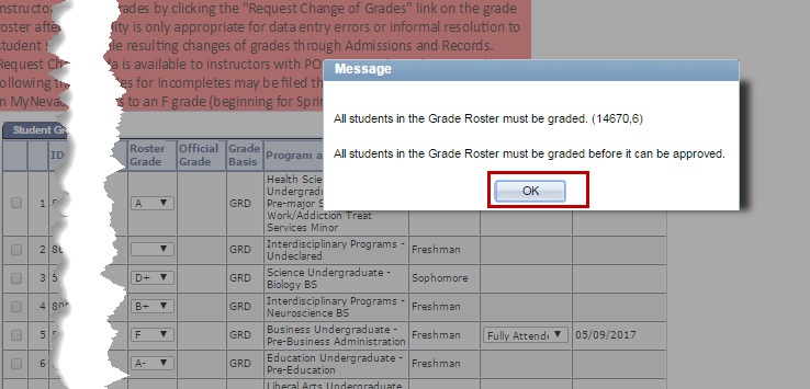 screenshot of error message with missing grades.