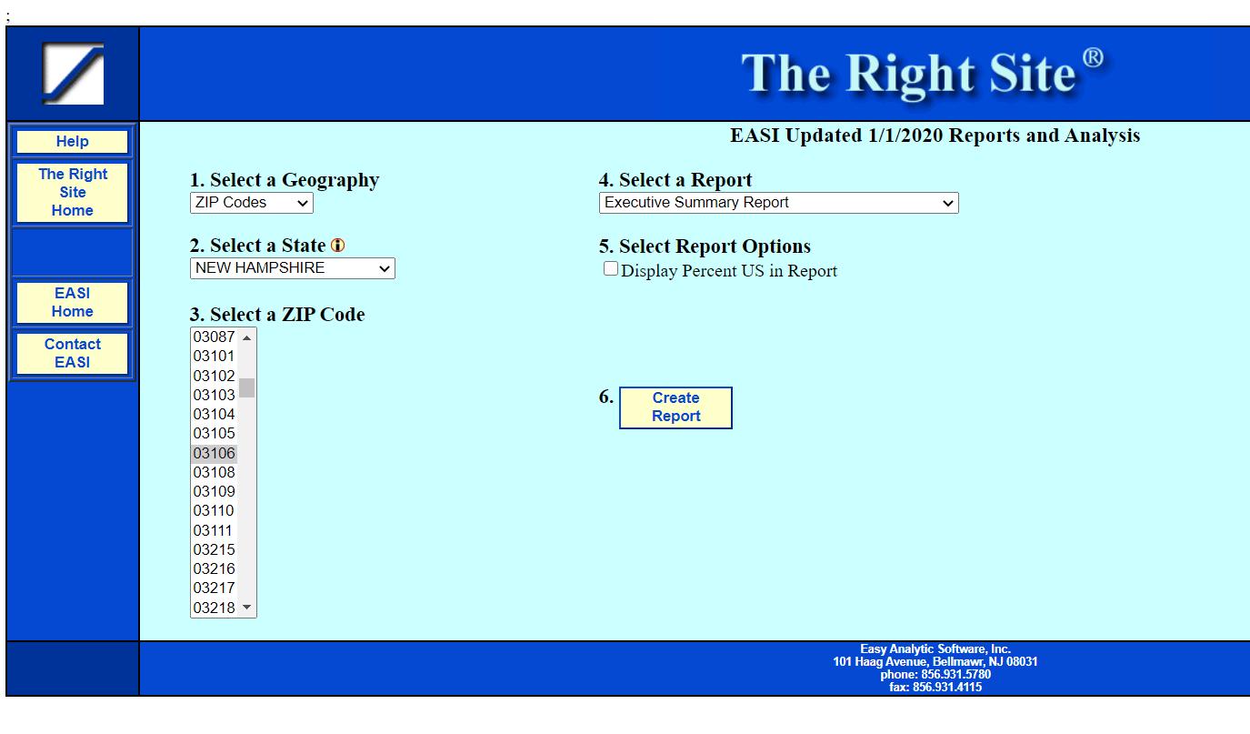 Screenshot of EASI Analytics site.