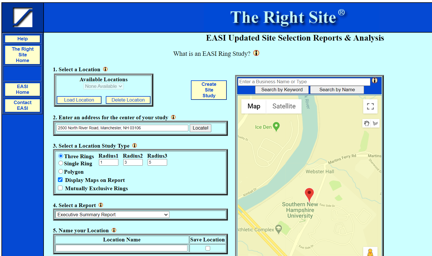 Screenshot of a site analysis report search page in EASI Analytics