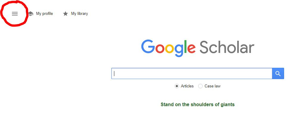 Screenshot of the how to find settings on the Google Scholar page