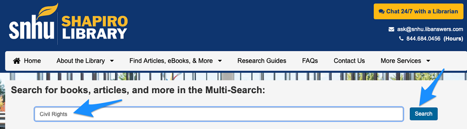 Screenshot of the library homepage with the search terms in the Multi-Search box.