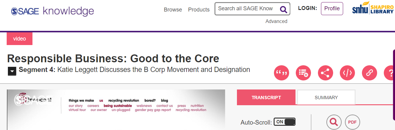 Screenshot of where to find the transcript in a SAGE video