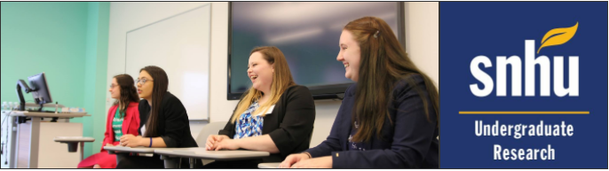 Photo of 4 students sitting in a row laughing while presenting and the SNHU Undergraduate Research logo