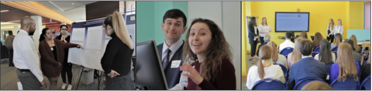 Picture 1: 3 people standing at a research poster with one pointing at the poster, Picture 2: A male student and a female student smiling from behind a computer monitor, Picture 3: 4 students presenting at a screen to a seated group