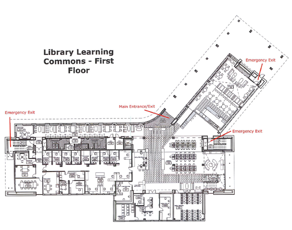 The first floor plan of the Wolak Library Learning Commons