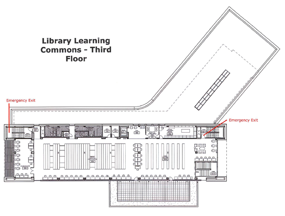 The third floor plan of the Wolak Library Learning Commons