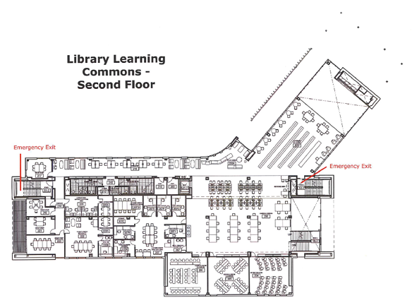 The second floor plan of the Wolak Library Learning Commons