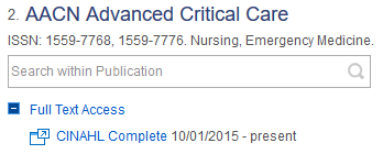 Screenshot of a nursing journal listing in the periodical finder