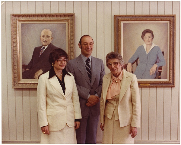 Ann R. Shapiro, Edward M. Shapiro, and Gertrude C. Shapiro at the rededication of the New Hampshire College Library