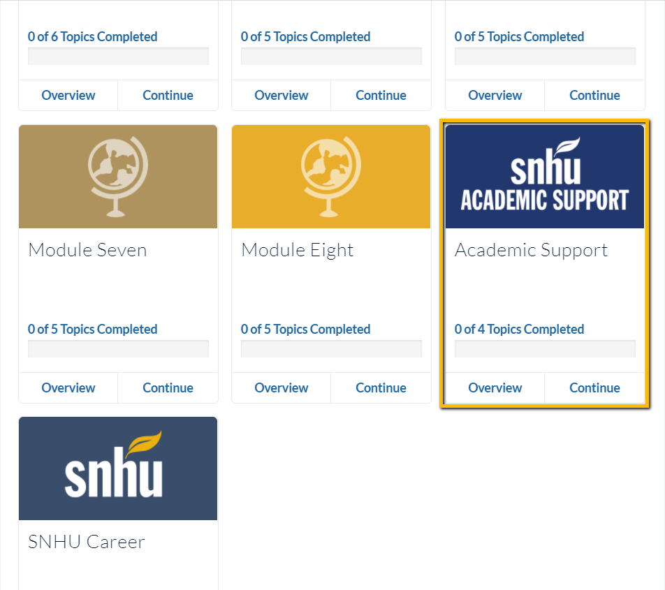Screenshot of a course homepage in Brightspace. Scroll down to find the Academic Support Tile
