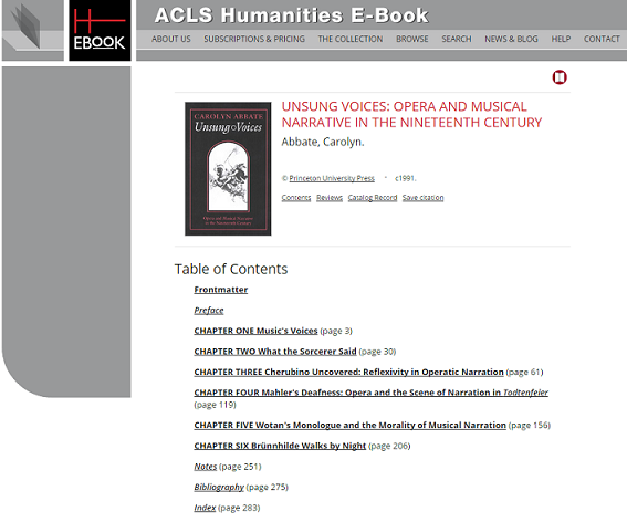 Screenshot of a Book page in ACLS database.