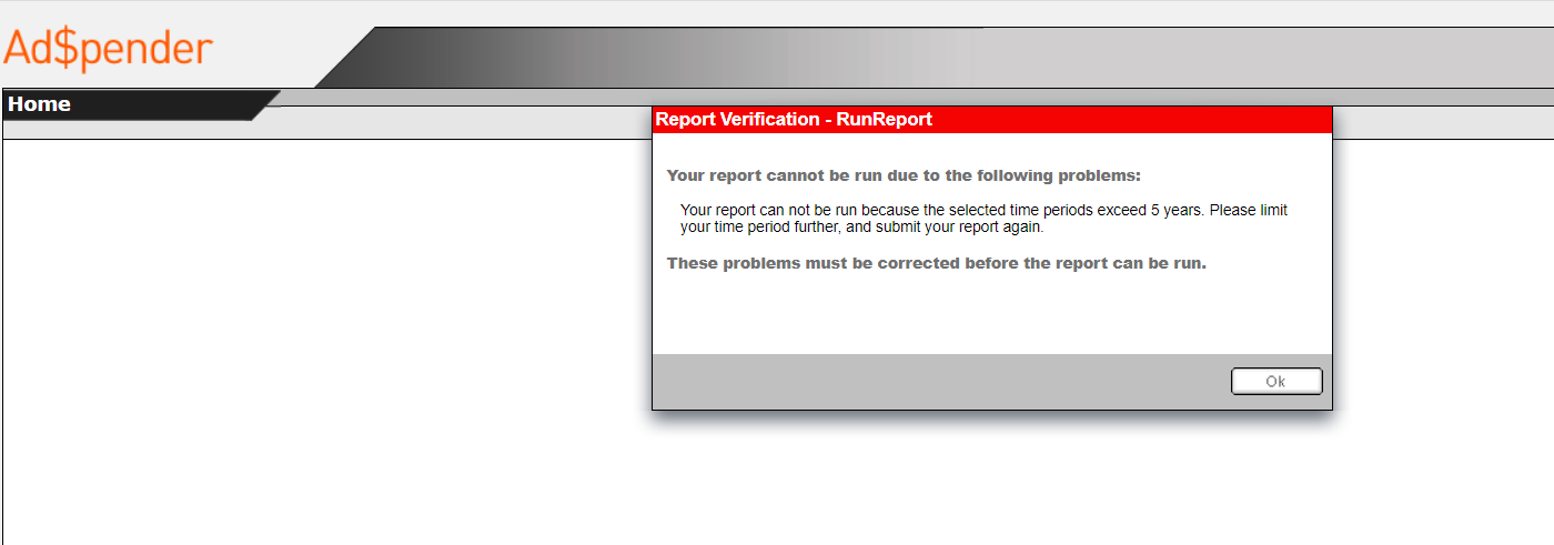 Sceenshot of error page.