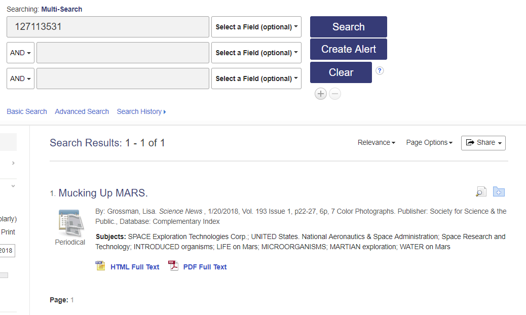 Screenshot of searching by accession number in multisearch
