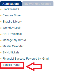 Screenshot of the Service Portal link in my.snhu