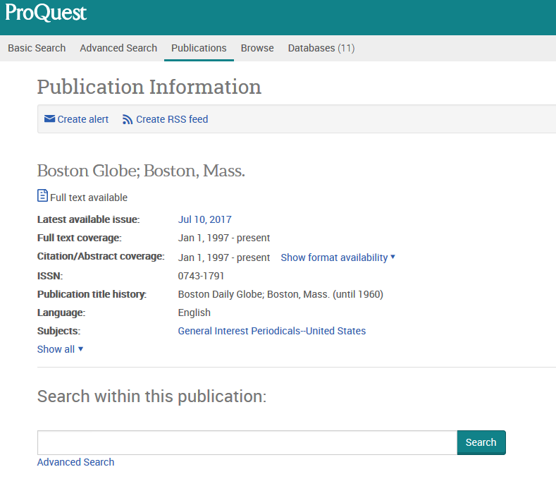 Screenshot of the Boston Globe publication page in ProQuest