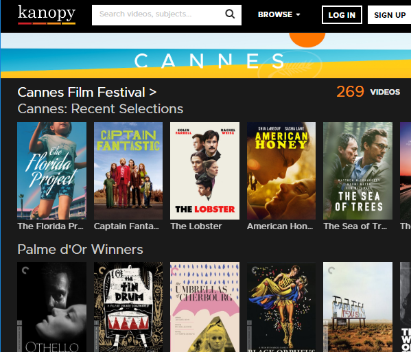 Screenshot of the Cannes Films Festival page in the Kanopy database