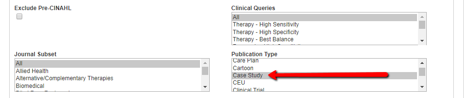 Screenshot of CINAHL with case study selected as publication type