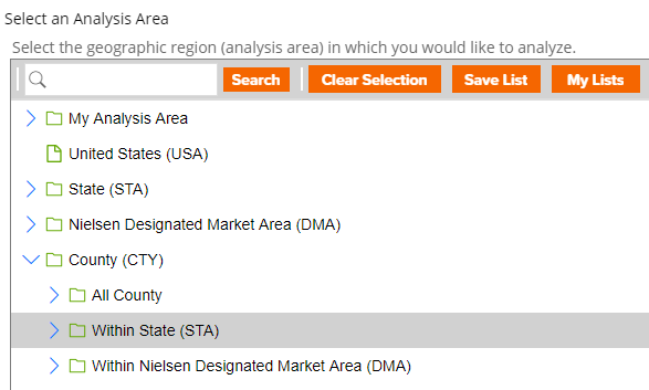 "Screenshot of the ""Select an Analysis Area"" in SRDS."