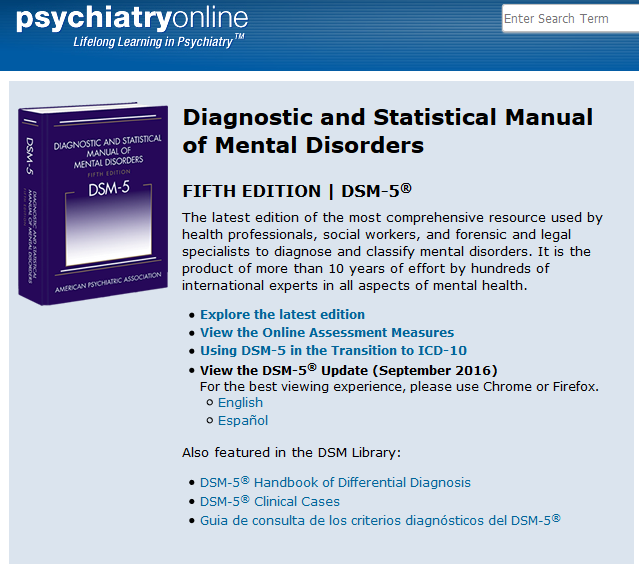 Screenshot of DSM-5 on Psychiatry online database