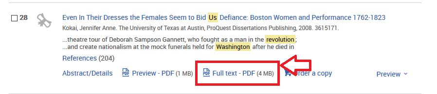 Screenshot of search result to show pdf full text