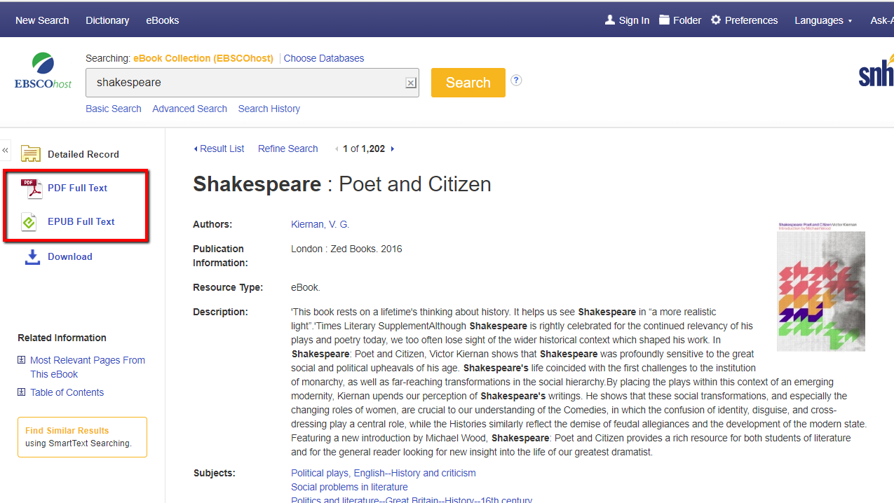 Screenshot of where the PDF and EPUB Full Text are located on a book's record page in EBSCO's eBook Collection database
