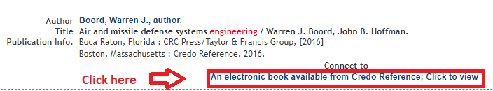 Screenshot of where to access the ebook from the ebook's record page in the catalog