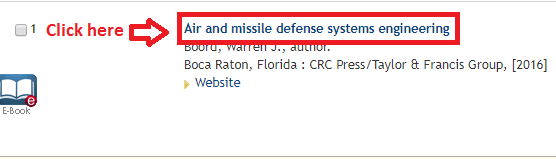 Screenshot of the ebook record on the catalog results page showing the title