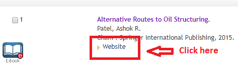 """Screenshot showing where the """"website"""" link is on the catalog's search results page"""