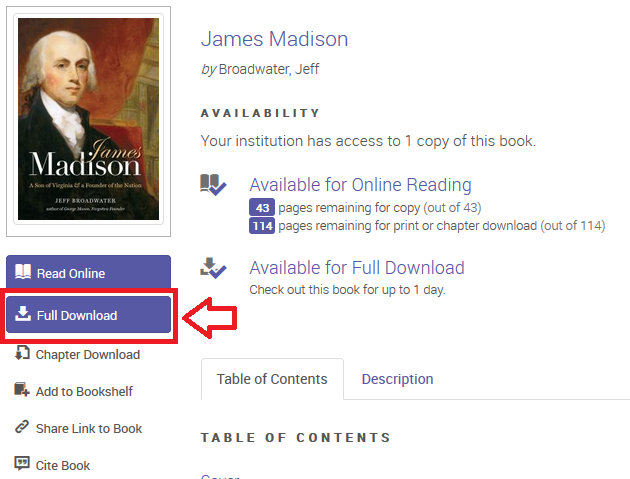 Screenshot of ebookcentral book page to show the full download option
