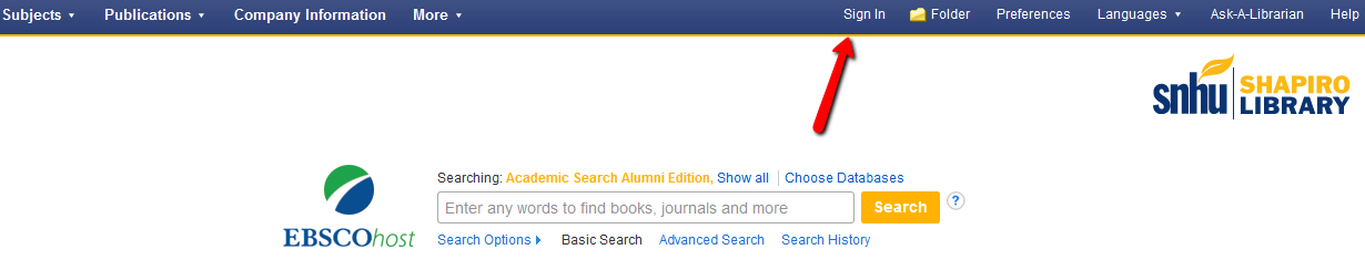Screenshot of sign in location on ebsco database