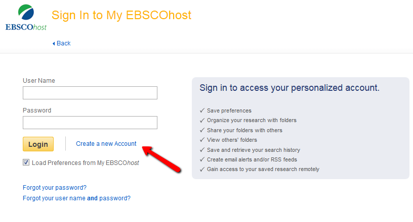 Screenshot of EBSCO's create a new account