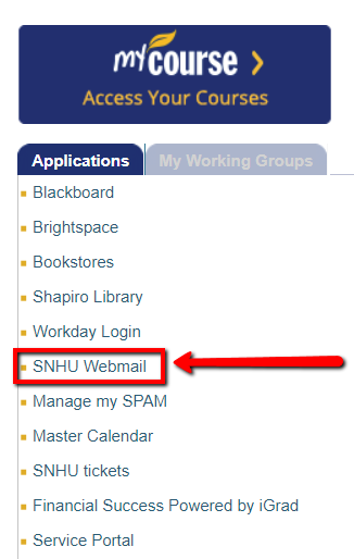 Screenshot of where email can be found in mySNHU