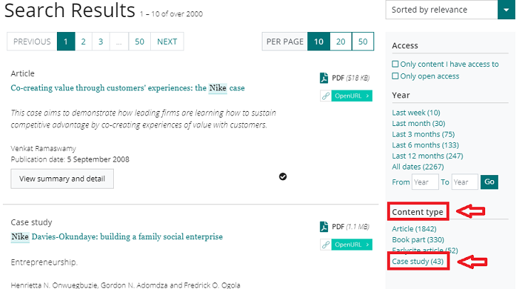 Screenshot of Emerald Insight search results and where to find the case study limiter